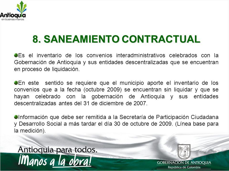 8. SANEAMIENTO CONTRACTUAL Es el inventario de los convenios interadministrativos celebrados con la Gobernación de Antioquia y sus entidades descentra