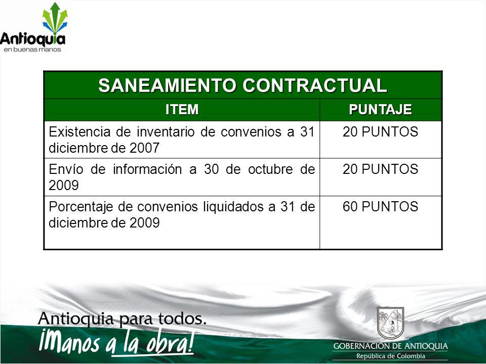 SANEAMIENTO CONTRACTUAL ITEMPUNTAJE Existencia de inventario de convenios a 31 diciembre de 2007 20 PUNTOS Envío de información a 30 de octubre de 200