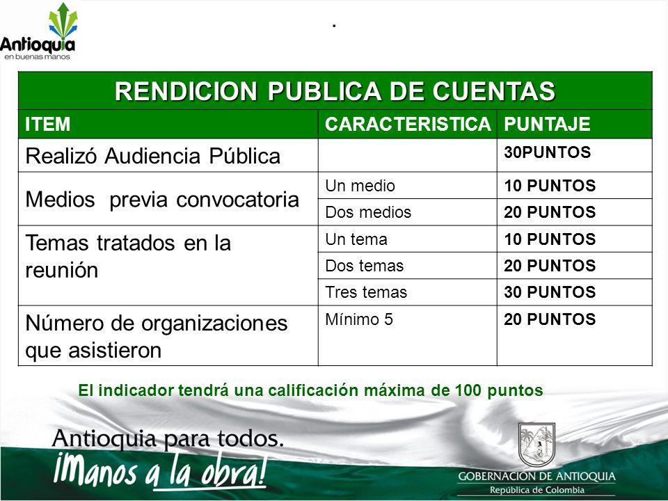 . RENDICION PUBLICA DE CUENTAS ITEMCARACTERISTICAPUNTAJE Realizó Audiencia Pública 30PUNTOS Medios previa convocatoria Un medio10 PUNTOS Dos medios20
