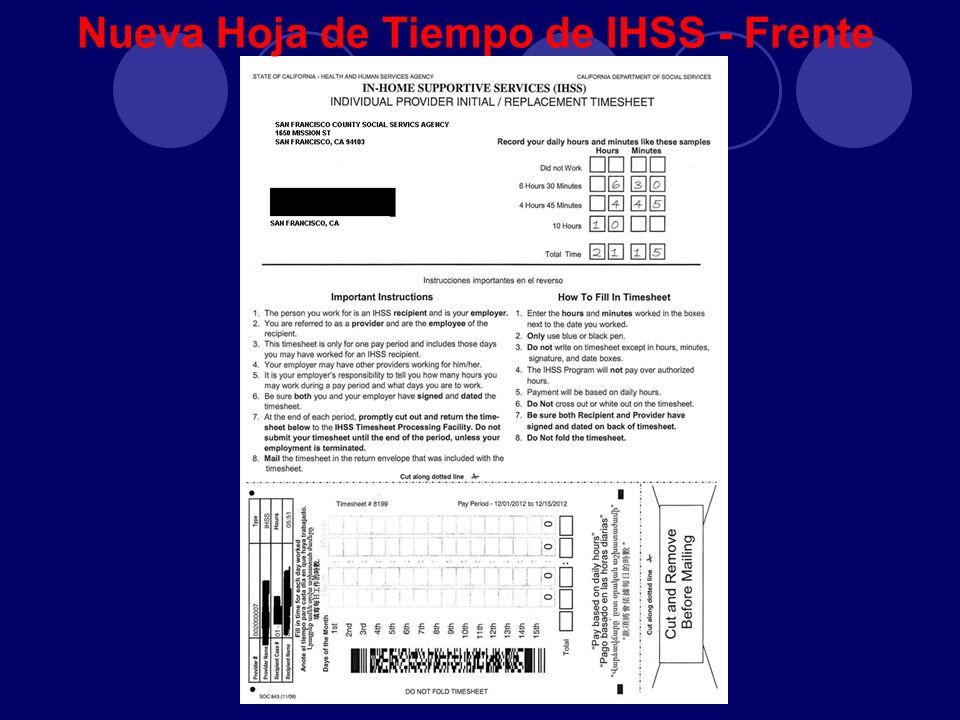 Nueva Hoja de Tiempo de IHSS - Frente