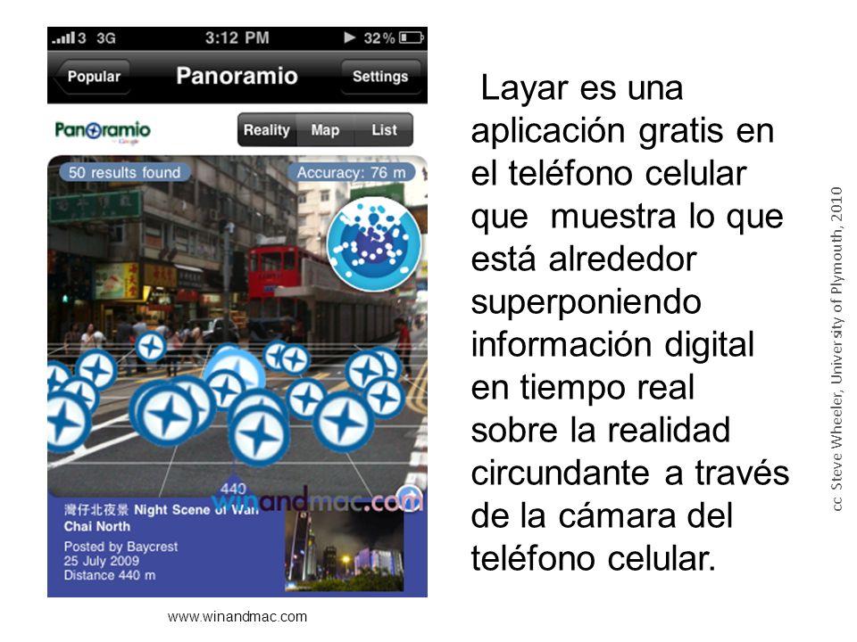 Layar es una aplicación gratis en el teléfono celular que muestra lo que está alrededor superponiendo información digital en tiempo real sobre la realidad circundante a través de la cámara del teléfono celular.