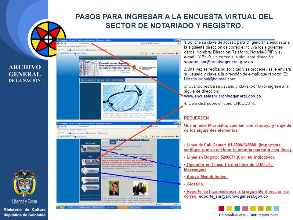Colombia diversa + Cultura para todos 1.Solicite su clave de acceso para diligenciar la encuesta a la siguiente dirección de correo e incluya los sigu