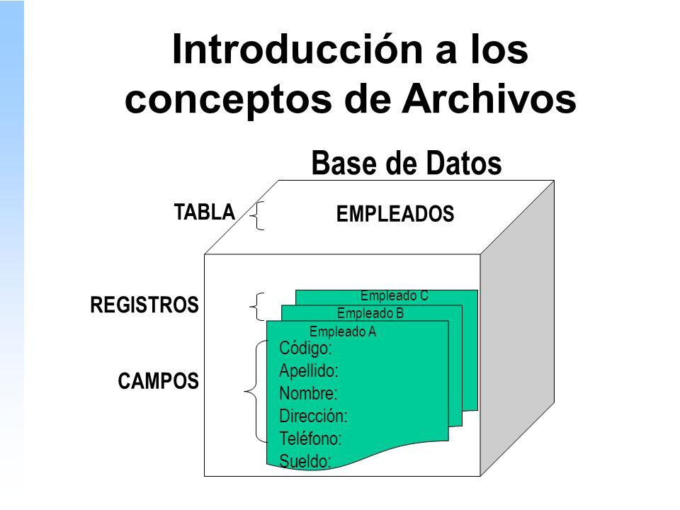 Introducción a los conceptos de Archivos Código: Apellido: Nombre: Dirección: Teléfono: Sueldo: Base de Datos REGISTROS CAMPOS EMPLEADOS Empleado C Empleado B Empleado A TABLA
