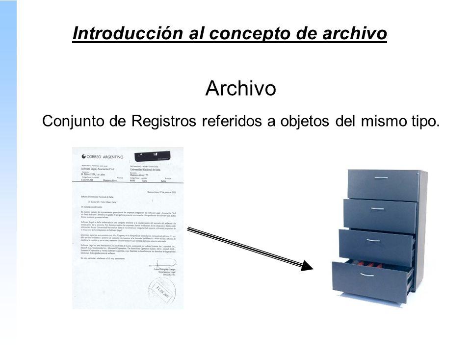 Introducción al concepto de archivo Archivo Conjunto de Registros referidos a objetos del mismo tipo.