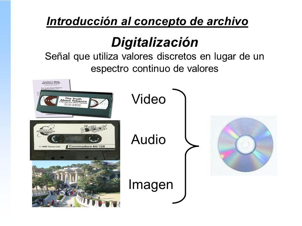 Introducción al concepto de archivo Digitalización Señal que utiliza valores discretos en lugar de un espectro continuo de valores Video Audio Imagen