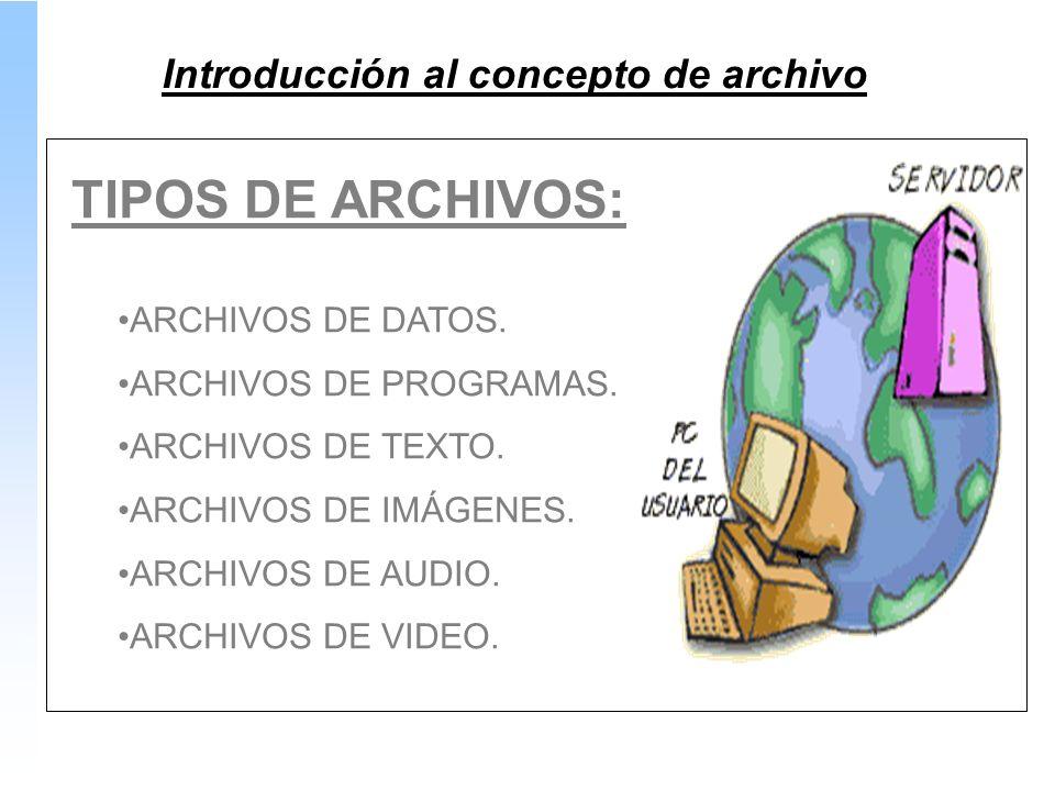 TIPOS DE ARCHIVOS: ARCHIVOS DE DATOS. ARCHIVOS DE PROGRAMAS.