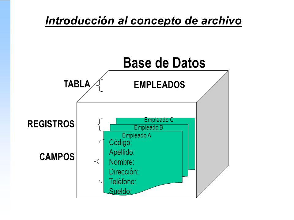 Código: Apellido: Nombre: Dirección: Teléfono: Sueldo: Base de Datos REGISTROS CAMPOS EMPLEADOS Empleado C Empleado B Empleado A TABLA