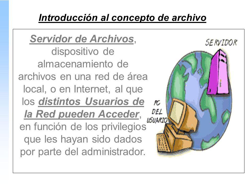 Servidor de Archivos, dispositivo de almacenamiento de archivos en una red de área local, o en Internet, al que los distintos Usuarios de la Red pueden Acceder, en función de los privilegios que les hayan sido dados por parte del administrador.