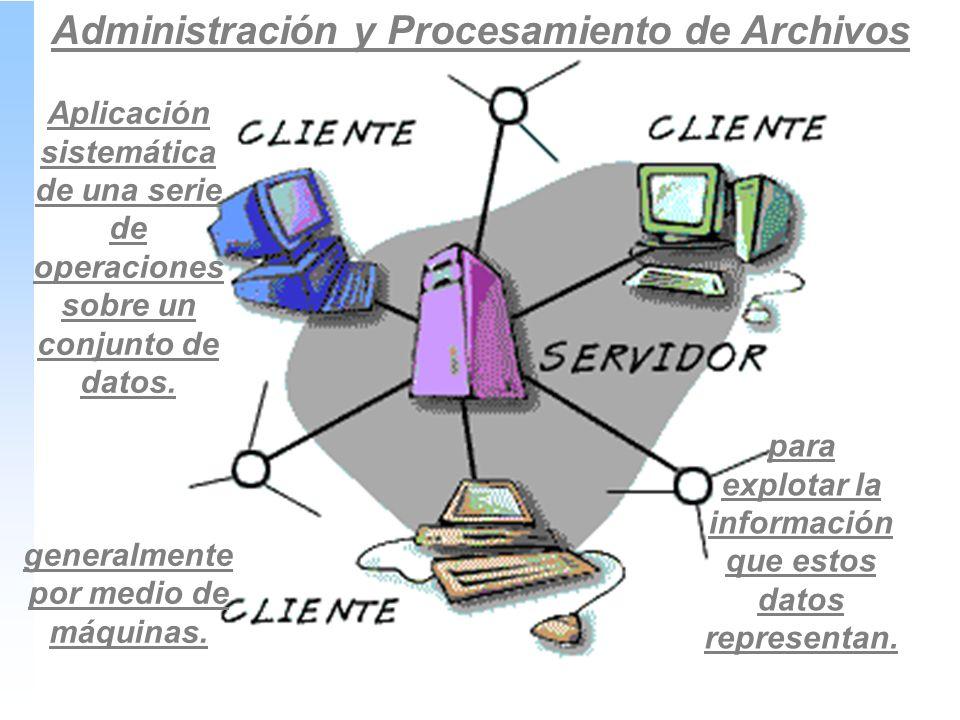 Administración y Procesamiento de Archivos para explotar la información que estos datos representan.