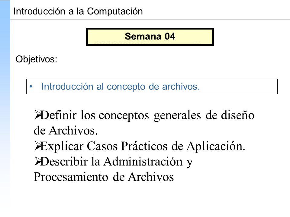 Semana 04 Objetivos: Introducción al concepto de archivos.