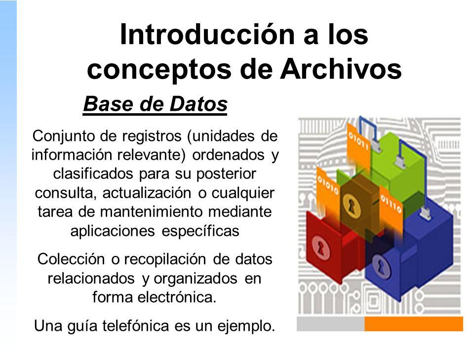 Introducción a los conceptos de Archivos Base de Datos Conjunto de registros (unidades de información relevante) ordenados y clasificados para su posterior consulta, actualización o cualquier tarea de mantenimiento mediante aplicaciones específicas Colección o recopilación de datos relacionados y organizados en forma electrónica.