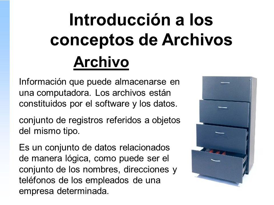 Introducción a los conceptos de Archivos Archivo Información que puede almacenarse en una computadora.