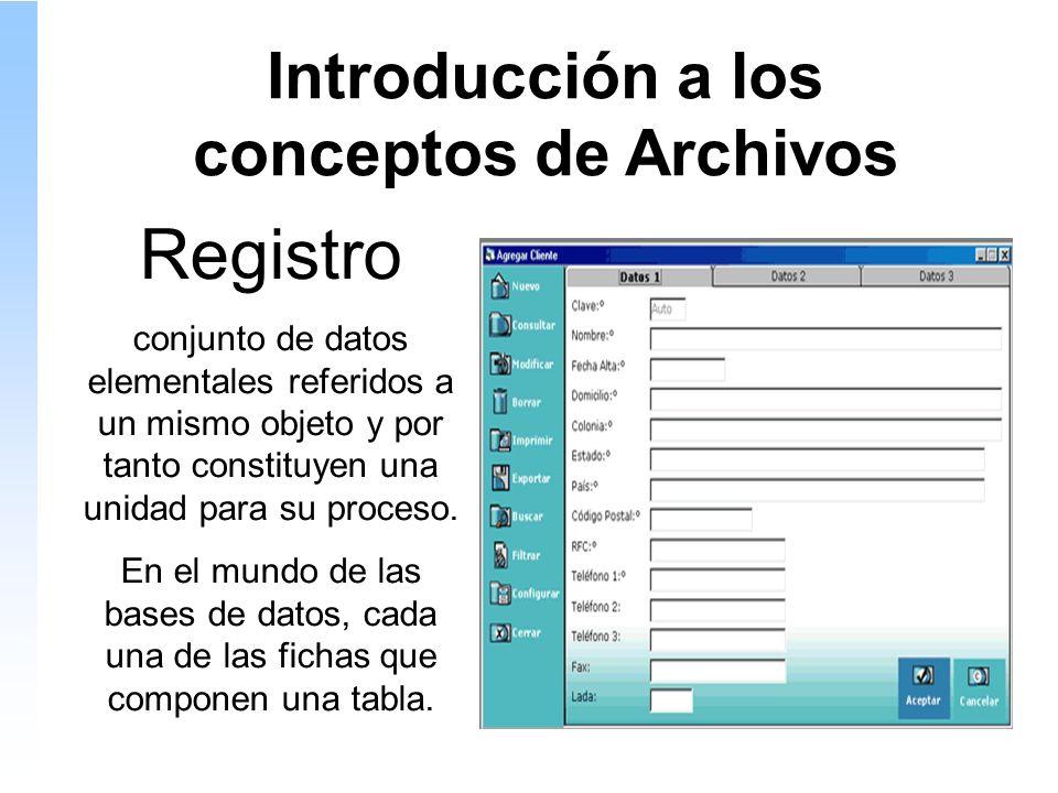 Introducción a los conceptos de Archivos Registro conjunto de datos elementales referidos a un mismo objeto y por tanto constituyen una unidad para su proceso.