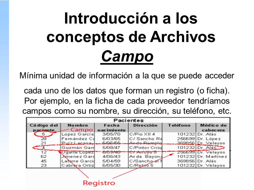 Introducción a los conceptos de Archivos Campo Mínima unidad de información a la que se puede acceder cada uno de los datos que forman un registro (o ficha).