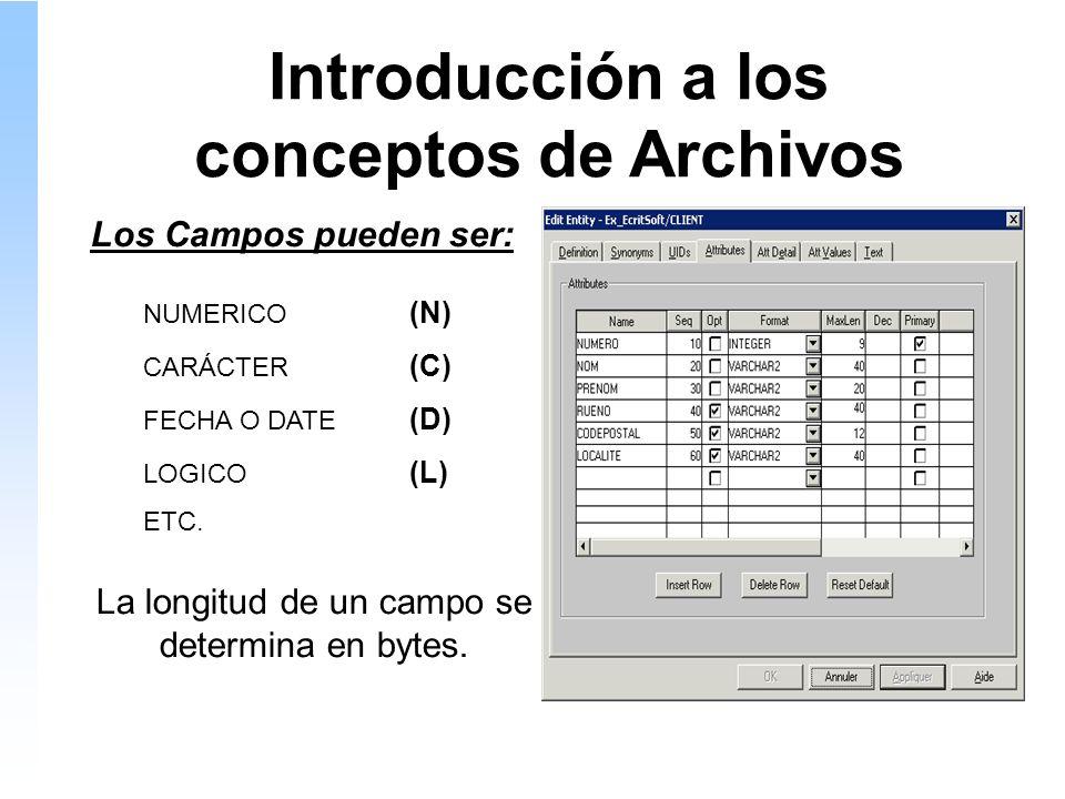 Introducción a los conceptos de Archivos Los Campos pueden ser: NUMERICO (N) CARÁCTER (C) FECHA O DATE (D) LOGICO (L) ETC.