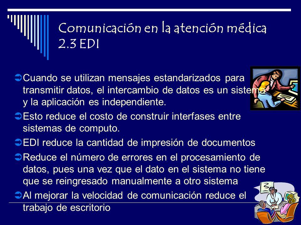 Comunicación en la atención médica 2.3 EDI Cuando se utilizan mensajes estandarizados para transmitir datos, el intercambio de datos es un sistema y la aplicación es independiente.