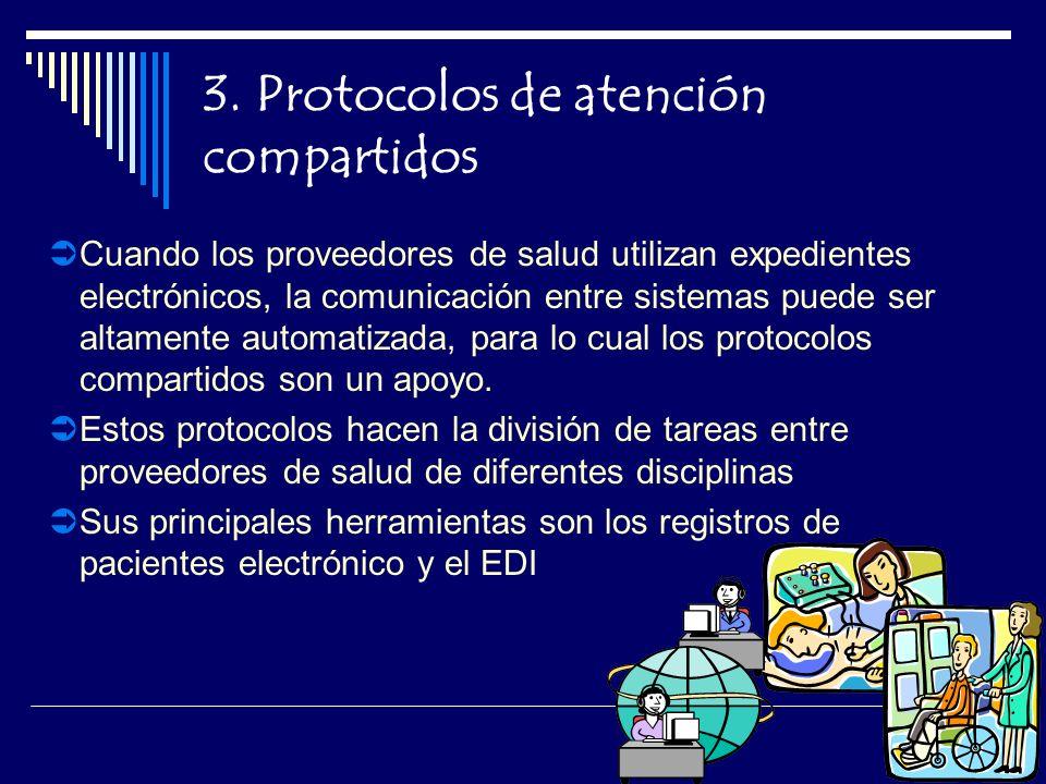 3. Protocolos de atención compartidos Cuando los proveedores de salud utilizan expedientes electrónicos, la comunicación entre sistemas puede ser alta