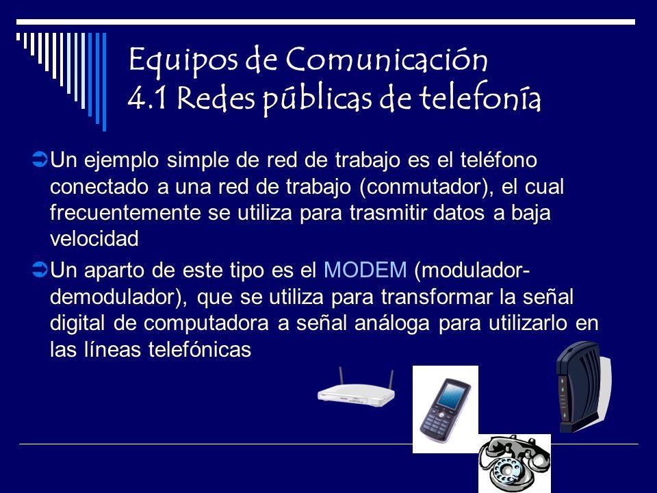 Equipos de Comunicación 4.1 Redes públicas de telefonía Un ejemplo simple de red de trabajo es el teléfono conectado a una red de trabajo (conmutador), el cual frecuentemente se utiliza para trasmitir datos a baja velocidad Un aparto de este tipo es el MODEM (modulador- demodulador), que se utiliza para transformar la señal digital de computadora a señal análoga para utilizarlo en las líneas telefónicas