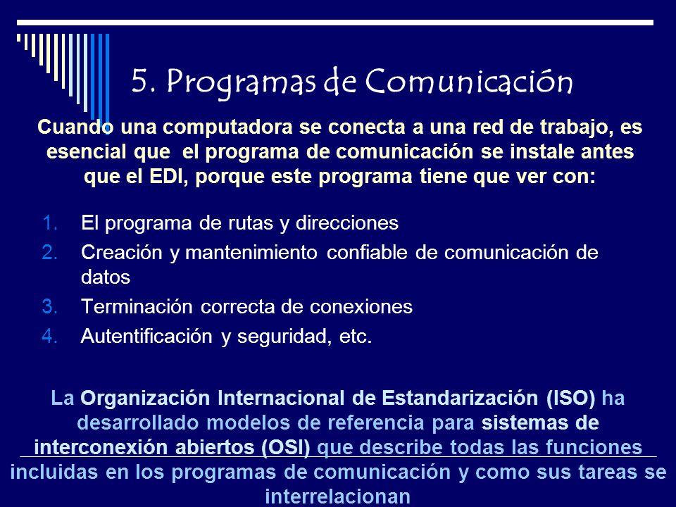 5. Programas de Comunicación 1.El programa de rutas y direcciones 2.Creación y mantenimiento confiable de comunicación de datos 3.Terminación correcta
