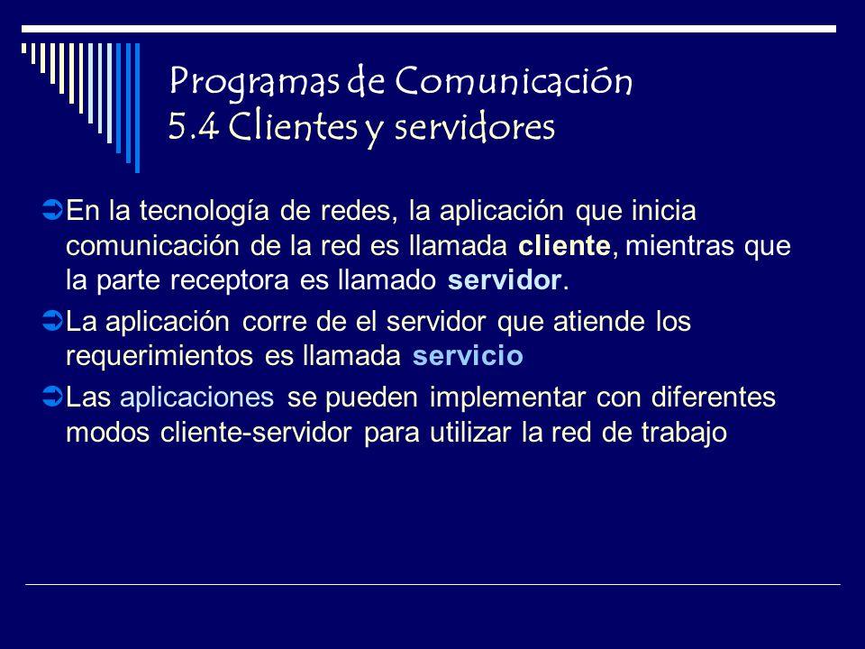 Programas de Comunicación 5.4 Clientes y servidores En la tecnología de redes, la aplicación que inicia comunicación de la red es llamada cliente, mientras que la parte receptora es llamado servidor.