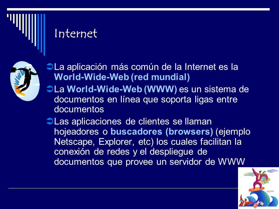 Internet La aplicación más común de la Internet es la World-Wide-Web (red mundial) La World-Wide-Web (WWW) es un sistema de documentos en línea que soporta ligas entre documentos Las aplicaciones de clientes se llaman hojeadores o buscadores (browsers) (ejemplo Netscape, Explorer, etc) los cuales facilitan la conexión de redes y el despliegue de documentos que provee un servidor de WWW
