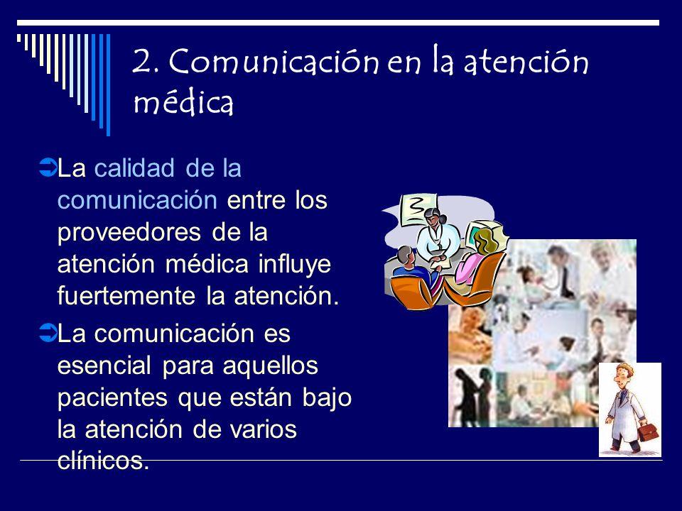 2. Comunicación en la atención médica La calidad de la comunicación entre los proveedores de la atención médica influye fuertemente la atención. La co