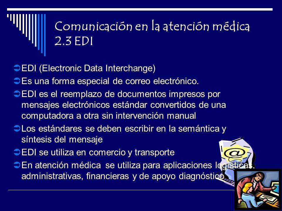 Comunicación en la atención médica 2.3 EDI EDI (Electronic Data Interchange) Es una forma especial de correo electrónico.