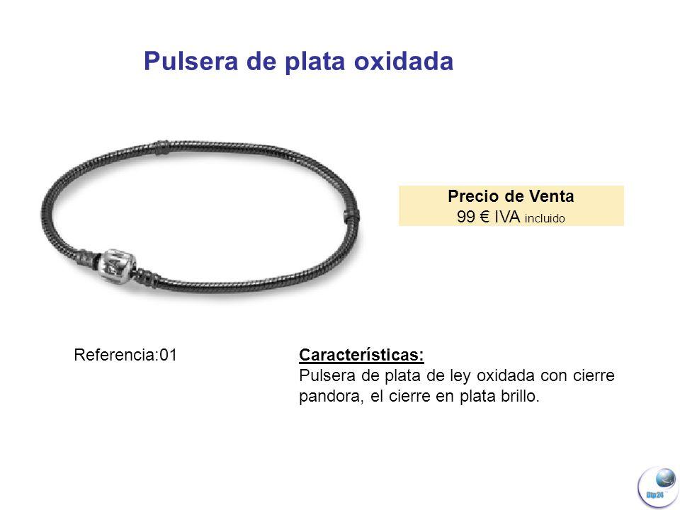 Pulsera de plata oxidada Precio de Venta 99 IVA incluido Referencia:01 Características: Pulsera de plata de ley oxidada con cierre pandora, el cierre en plata brillo.