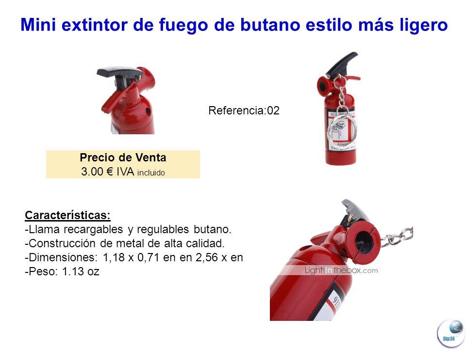 Mini extintor de fuego de butano estilo más ligero Precio de Venta 3.00 IVA incluido Características: -Llama recargables y regulables butano.