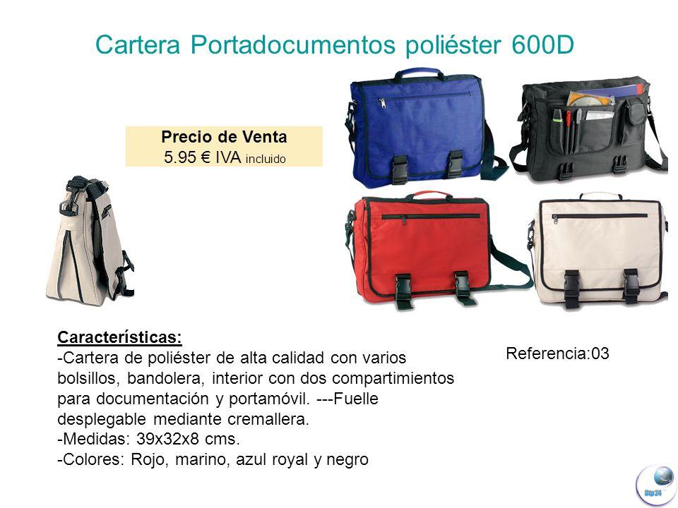 Características: -Cartera de poliéster de alta calidad con varios bolsillos, bandolera, interior con dos compartimientos para documentación y portamóvil.