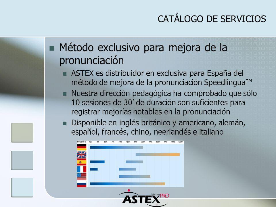CATÁLOGO DE SERVICIOS Método exclusivo para mejora de la pronunciación ASTEX es distribuidor en exclusiva para España del método de mejora de la pronu