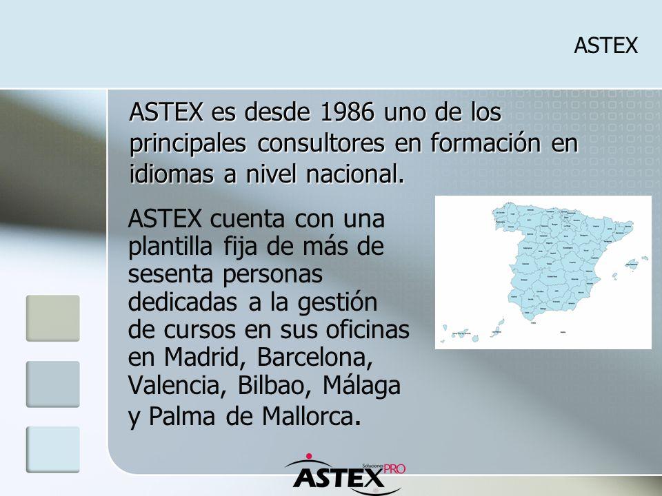ASTEX ASTEX cuenta con una plantilla fija de más de sesenta personas dedicadas a la gestión de cursos en sus oficinas en Madrid, Barcelona, Valencia, Bilbao, Málaga y Palma de Mallorca.
