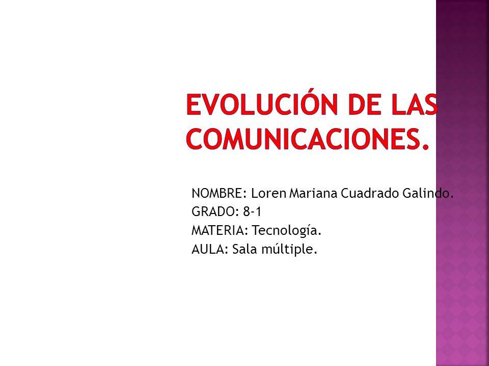 NOMBRE: Loren Mariana Cuadrado Galindo. GRADO: 8-1 MATERIA: Tecnología. AULA: Sala múltiple.