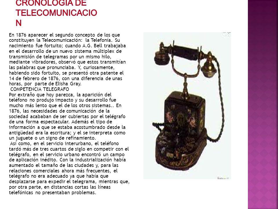 En 1876 aparecer el segundo concepto de los que constituyen la Telecomunicación: la Telefonía. Su nacimiento fue fortuito; cuando A.G. Bell trabajaba