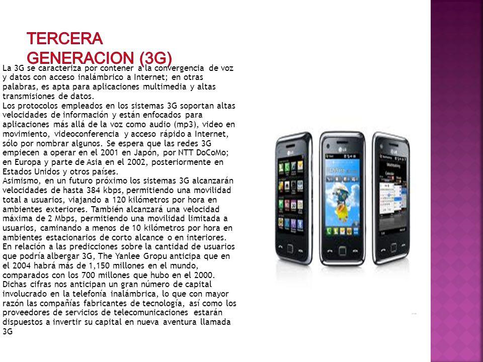 La 3G se caracteriza por contener a la convergencia de voz y datos con acceso inalámbrico a Internet; en otras palabras, es apta para aplicaciones mul