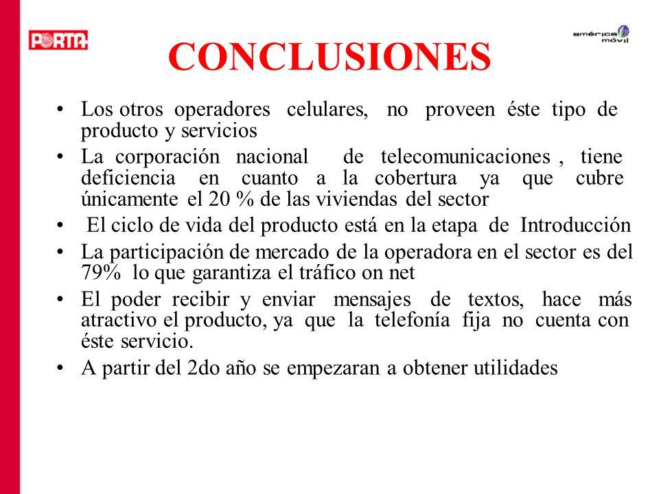 CONCLUSIONES Los otros operadores celulares, no proveen éste tipo de producto y servicios La corporación nacional de telecomunicaciones, tiene deficie