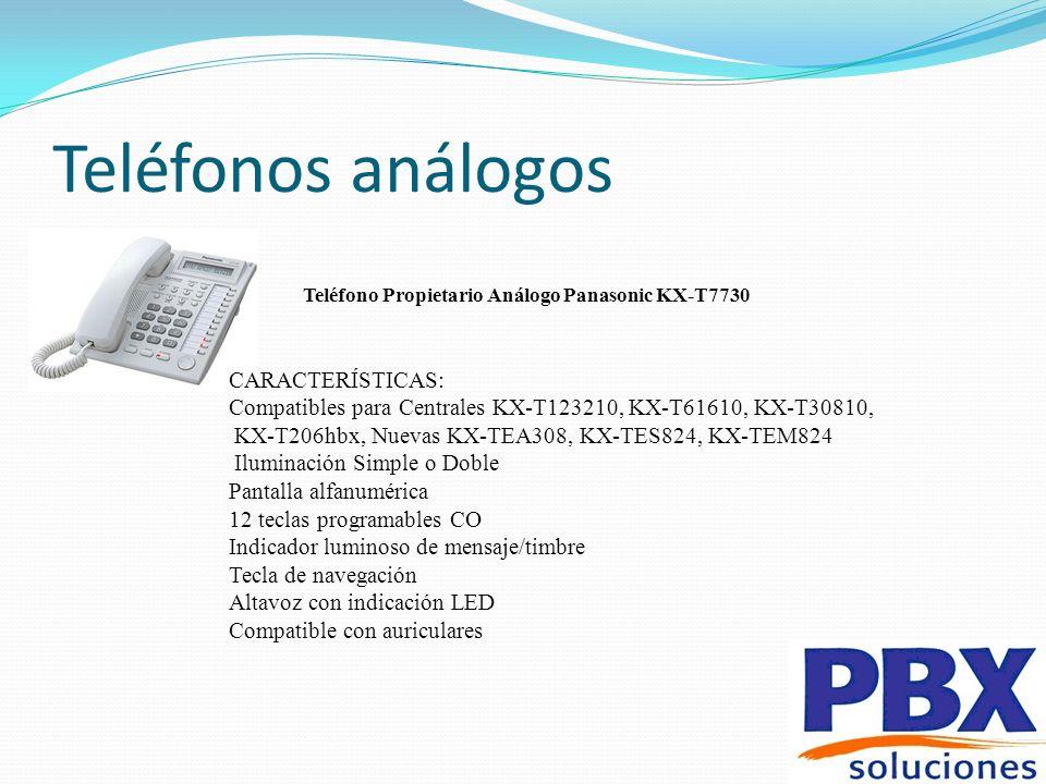 Teléfonos análogos Teléfono Propietario Análogo Panasonic KX-T7730 CARACTERÍSTICAS: Compatibles para Centrales KX-T123210, KX-T61610, KX-T30810, KX-T2