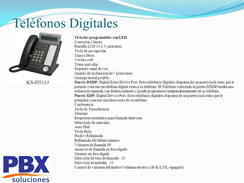 Teléfonos Digitales 24 teclas programables con LED. Conexión 2 líneas Pantalla LCD 24 x 3 carácteres. Tecla de navegación. Manos libres. 4 teclas soft