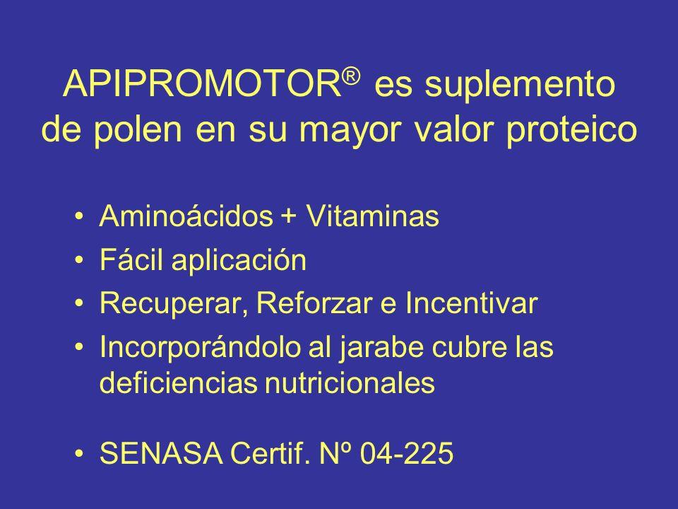 APIPROMOTOR ® es suplemento de polen en su mayor valor proteico Aminoácidos + Vitaminas Fácil aplicación Recuperar, Reforzar e Incentivar Incorporándolo al jarabe cubre las deficiencias nutricionales SENASA Certif.