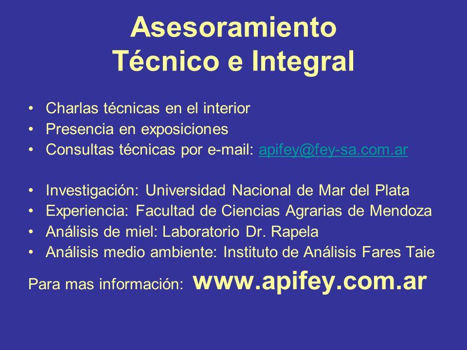 Asesoramiento Técnico e Integral Charlas técnicas en el interior Presencia en exposiciones Consultas técnicas por e-mail: apifey@fey-sa.com.arapifey@f