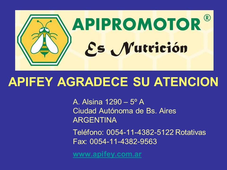 APIFEY AGRADECE SU ATENCION A. Alsina 1290 – 5º A Ciudad Autónoma de Bs. Aires ARGENTINA Teléfono: 0054-11-4382-5122 Rotativas Fax: 0054-11-4382-9563