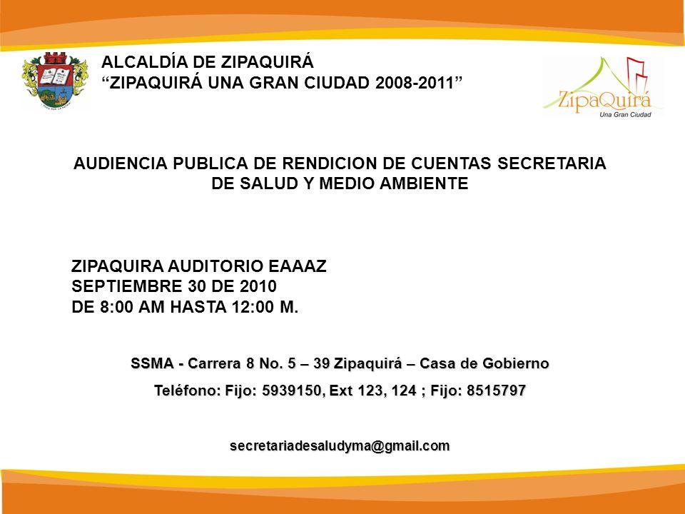 ALCALDÍA DE ZIPAQUIRÁ ZIPAQUIRÁ UNA GRAN CIUDAD 2008-2011 AUDIENCIA PUBLICA DE RENDICION DE CUENTAS SECRETARIA DE SALUD Y MEDIO AMBIENTE ZIPAQUIRA AUD