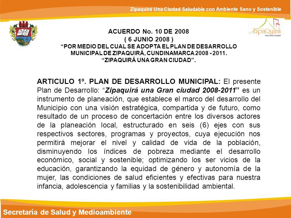 Secretaría de Salud y Medioambiente Zipaquirá Una Ciudad Saludable con Ambiente Sano y Sostenible ACUERDO No. 10 DE 2008 ( 6 JUNIO 2008 ) POR MEDIO DE