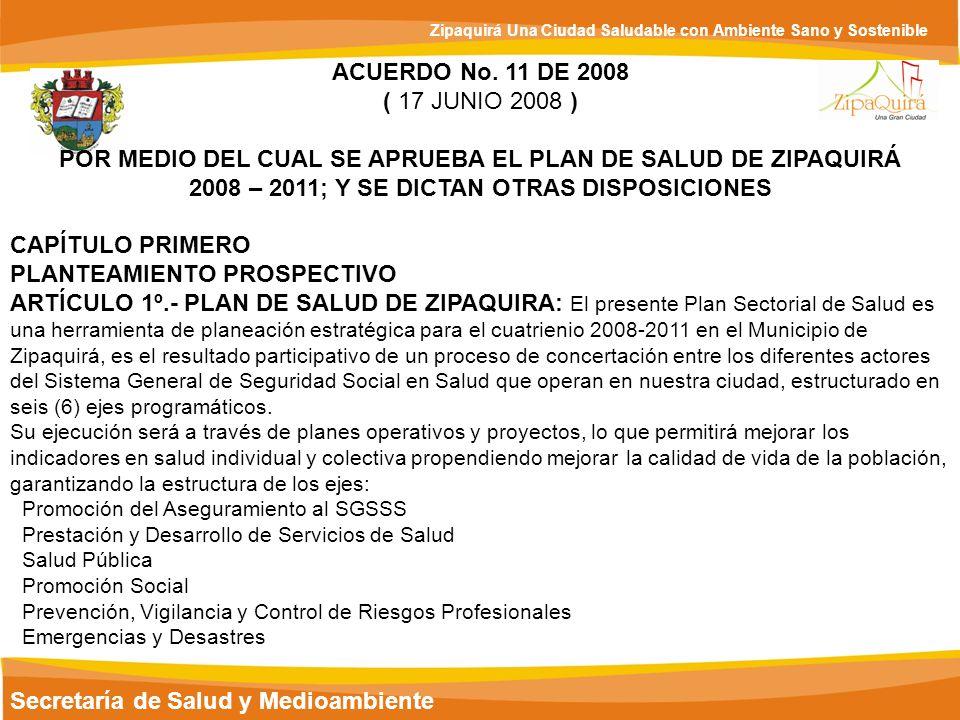 Secretaría de Salud y Medioambiente Zipaquirá Una Ciudad Saludable con Ambiente Sano y Sostenible ACUERDO No. 11 DE 2008 ( 17 JUNIO 2008 ) POR MEDIO D