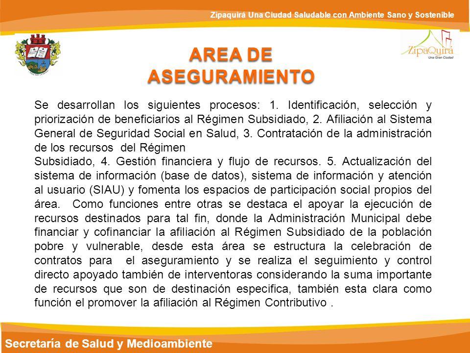 Secretaría de Salud y Medioambiente Zipaquirá Una Ciudad Saludable con Ambiente Sano y Sostenible AREA DE ASEGURAMIENTO Se desarrollan los siguientes