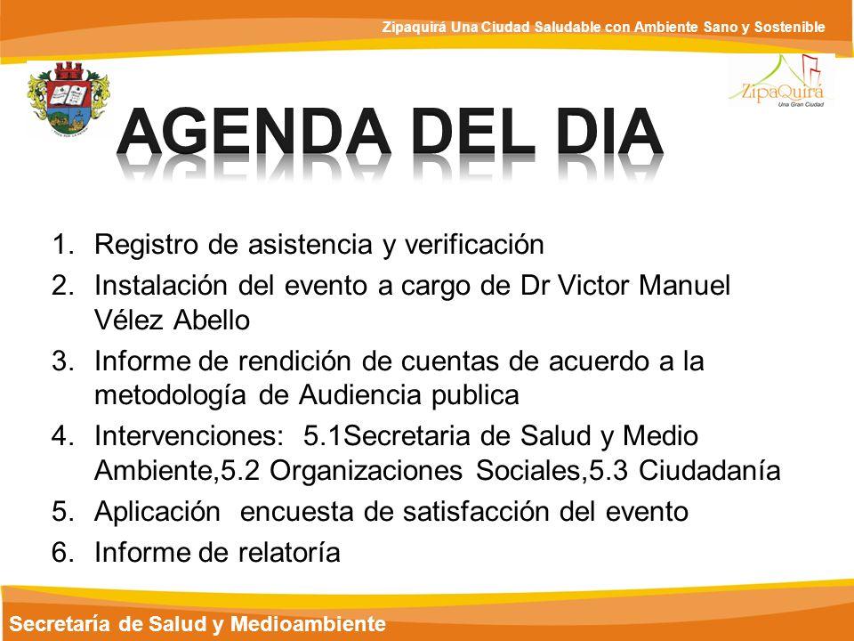 Secretaría de Salud y Medioambiente Zipaquirá Una Ciudad Saludable con Ambiente Sano y Sostenible DESARROLLO DE AUDIENCIA PUBLICA 2.