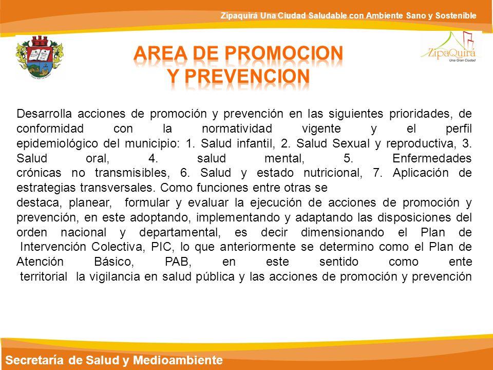 Secretaría de Salud y Medioambiente Zipaquirá Una Ciudad Saludable con Ambiente Sano y Sostenible Desarrolla acciones de promoción y prevención en las