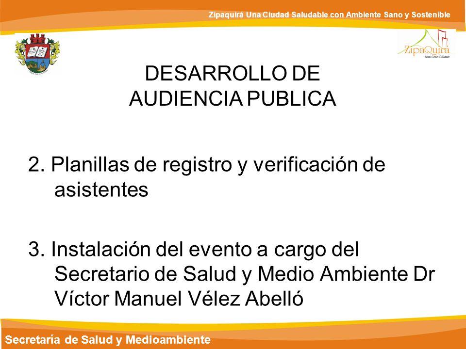 Secretaría de Salud y Medioambiente Zipaquirá Una Ciudad Saludable con Ambiente Sano y Sostenible 6.