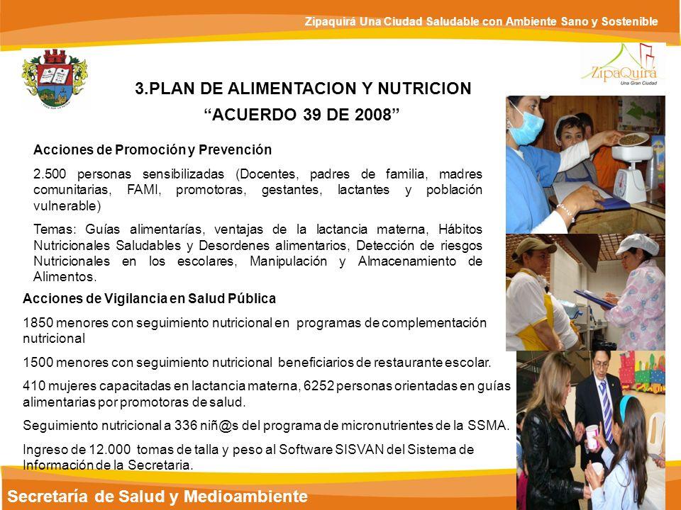 Secretaría de Salud y Medioambiente Zipaquirá Una Ciudad Saludable con Ambiente Sano y Sostenible 3.PLAN DE ALIMENTACION Y NUTRICION ACUERDO 39 DE 200