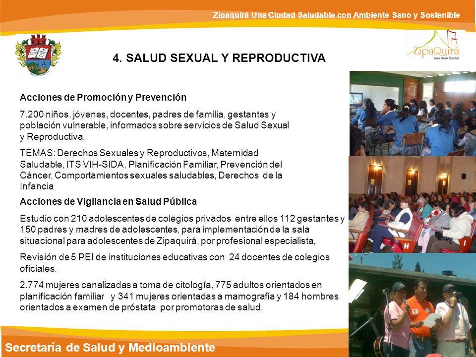 Secretaría de Salud y Medioambiente Zipaquirá Una Ciudad Saludable con Ambiente Sano y Sostenible 4. SALUD SEXUAL Y REPRODUCTIVA Acciones de Promoción